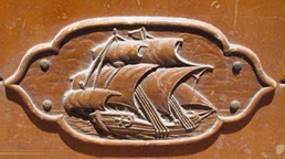 Cavalier Cedar Chest Detail of Mayflower Ship Carving