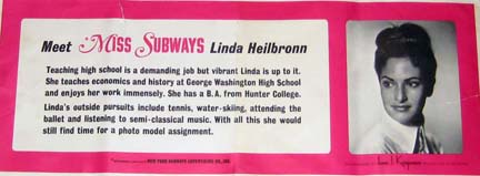 Miss Subways Advertising Card-Linda Heilbronn