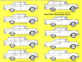 Chart of Chevrolet Body Styles for 1957