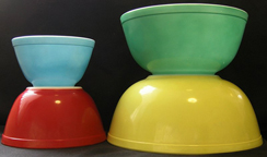 Group of Primary Color Pyrex Bowls
