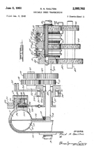 Reid Railton patent for a variable speed transmission No. 2,555,702