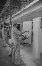 Painting on the Refrigerator Assembly Line