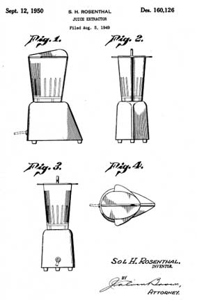 Hollywood Blender Design Patent D160126