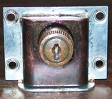 Scottys Cavalier Chest -- details of combination lock