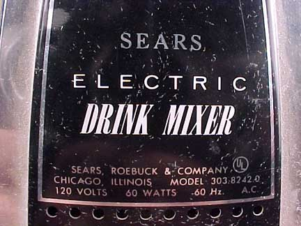 Sears Mixer manufacturer Plate