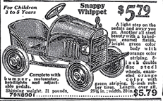 1936 Sears catalogue ad for a Whippet Pedal car