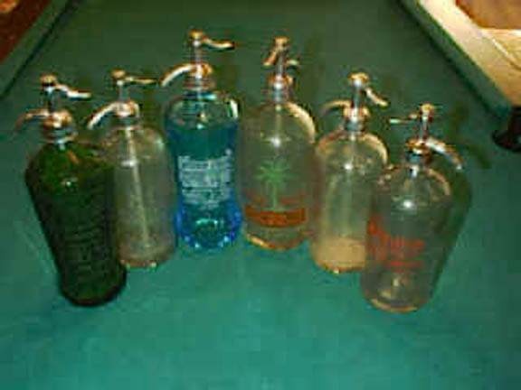 collection of seltzer bottles