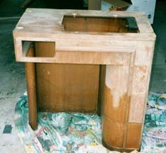 Singer Sewing Machine in Art Deco Cabinet (Before)