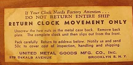 Label on Acme Ron's Ship Clock