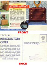 Cavalier Stow-Away Chest Advertising Postcard