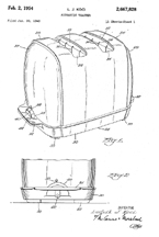 Sunbeam T-20 Toaster Design Patent No. 2,667,828