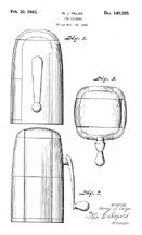 Talge 1944 Ice Crusher Design Patent D-140,395