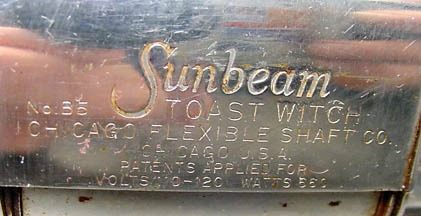 Sunbeam Toast Witch, Maker's Plate