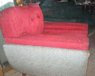 The Red Sculpted Pile Deco Chair, detail