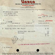 Invoice from United Autographic Register Company