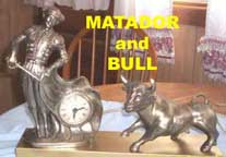 United Metal Goods Matador and Bull clock