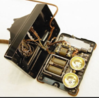 Western Electric Model 302 Telephone Case Open Showing mechanism