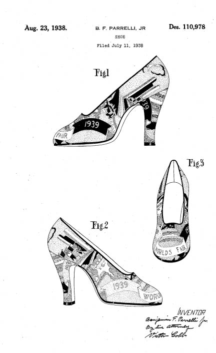 World's Fair Shoes design patent D110978