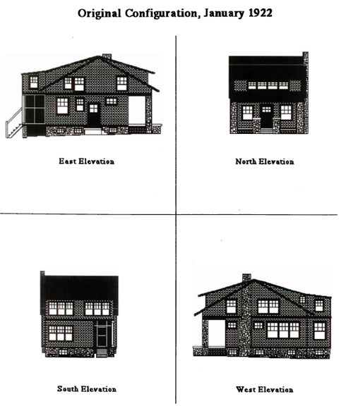 Elevations of the house in 1922