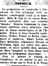 1916 Clippping about Billy B. Van in Spooks