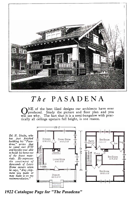 Lewis Homes catalogue page for The Pasadena