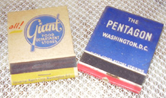 Vintage matchbooks from Giant Foods and the Pentagon