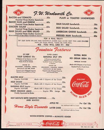 Woolworth menu