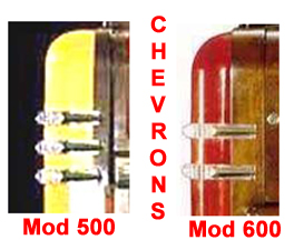 Chevrons on the Model 500 and the Model 600 Wurlitzer Jukebox