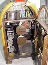 Coin Chutes on the Wurlitzer Model 850 Jukebox
