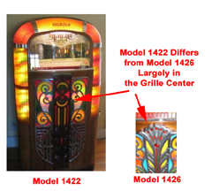 Comparison of Rock-Ola Models 1422 and 1426