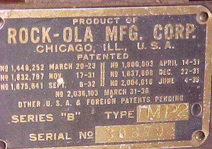 The Rock-Ola Imperial Jukebox, Manufacturer's plate