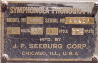 Seeburg Casino Jukebox manufacturer's Plate