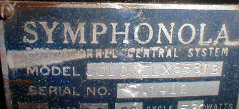Seeburg Colonel Jukebox - Manufacturer's Plate