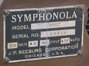 Seeburg Vogue Jukebox - Manufacturer's Plate