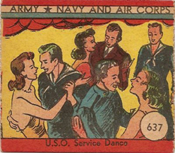 World War II Trading Card showing dancing in a USO Club (face)