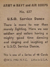 World War II Trading Card showing dancing in a USO Club (obverse)