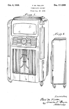 Wurlitzer Model 24 Jukebox Design Patent D-111,599