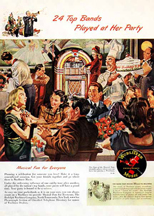 Albert Dorne ad featuring the Wurlitzer Model 1015 jukebox