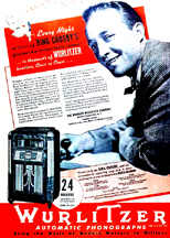 Ad featuring Bing Crosby and a Wurlitzer Model 24 Jukebox
