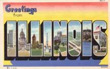 Illinois Large letter postcard