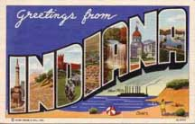 Indiana Large letter postcard