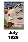Model Airplane news cover for July of 1929