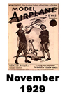 Model Airplane news cover for November of 1929