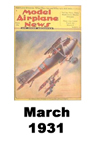 Model Airplane news cover for March of 1931