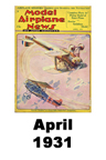 Model Airplane news cover for April of 1931