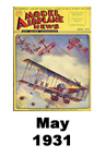 Model Airplane news cover for May of 1931