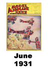 Model Airplane news cover for June of 1931
