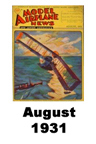 Model Airplane news cover for August of 1931