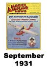 Model Airplane news cover for September of 1931