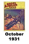 Model Airplane news cover for October of 1931
